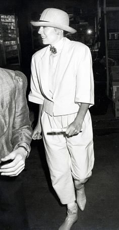 Vintage shot of Diane Keaton wearing her signature oversized jacket and pants