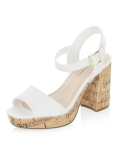 Wide Fit White Leather-Look Block Heels    New Look