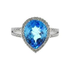 Stunning Pear Shaped Blue Topaz and Diamond  Cocktail ring