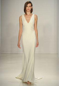 Sheath Wedding Dress : V-neck Sheath Wedding Dress | Amsale Fall 2015 Wedding Dresses | Maria Valentino