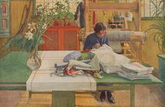 """Loom and Thread"" by Carl Larsson (Swedish, 1853-1919).   Carl's wife, Karin Larsson, was a textile artist."