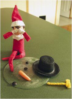 Elf on the Shelf saying goodbye to Frosty