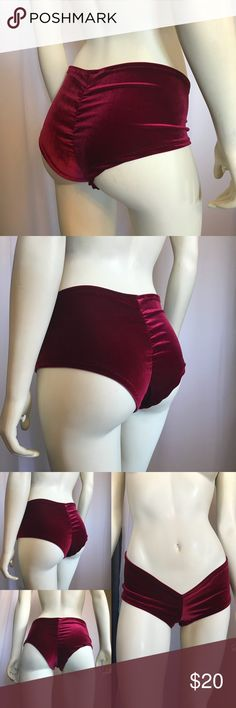 Burgundy wine high waisted slight cheeky boy short Size: Medium  Stretch velvet  Fabric has been pre washed  This is a medium weight high quality fabric      if you have any questions regarding the measurements please do not hesitate to ask.   I the seller do make these items here in my home office.  hang dry /Hand washing is recommended.   • this is a *ONE *OF* A* KIND* Hand made item , this item will not be duplicated ,   **FOR ALL YOUR SEXY MOMENTS !** Escalady Shorts
