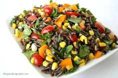 Wild Rice Spinach Salad with Lemon-Garlic Dressing - serves 6 - swap cucumber (or your other favorite veggies) for the corn in this hearty salad. (For I-Burn, sub red onion for the green.)
