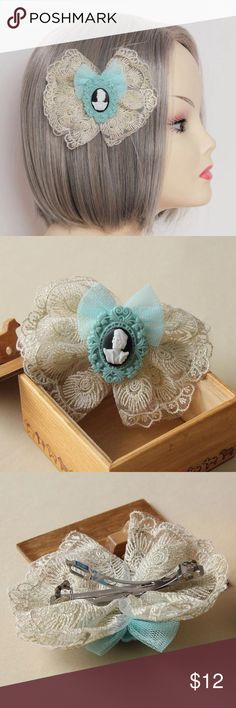 """Vintrage """"Flowers in the attic"""" Lolita Kitch bow Adorable murder face cameo handmade high-quality hairclip can be worn in about 1000 ways❣BNWOT Urban Decay Accessories Hair Accessories"""