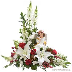 Heavenly Peace with angel - Flowers, Plants, Gift Baskets from VIVIANO Flower Shop, Detroit MI Florist