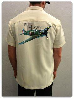 Men's Airplane Shirt -P-36 Hawk- World War II Fighter Jet -Men's Aviation Shirt in Ivory