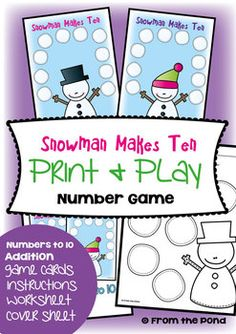Snowman Makes Ten - Math Center Game for Early Number  A game from our 'Print and Play' collection.  This printable card game ideal for a small group of students in a math rotation or center.  Snowman Makes Ten helps teach students about addition combinations that make ten.