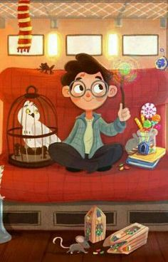 Harry Potter with Hedwig on The Hogwarts Express. Harry Potter Hermione, Harry Potter Fan Art, Harry Potter Kawaii, Images Harry Potter, Cute Harry Potter, Mundo Harry Potter, Harry Potter Drawings, Harry Potter Books, Harry Potter Universal