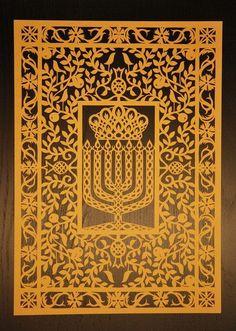 Items similar to Jewish Papercut Flower Menorah on Etsy Cultura Judaica, Arte Judaica, Jewish Art, Religious Art, Holocaust Memorial Day, Life Symbol, Ancient Symbols, Menorah, Jewish Symbol