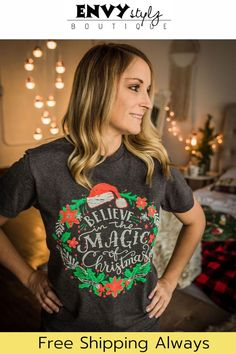 Embrace the magic of Christmas with a stylish addition to your holiday wardrobe. The soft graphic print TShirt beautifully captures the spirit and magic of Christmas with fun prints, vibrant pops of… More Fall Outfits For Work, Casual Summer Outfits, Chic Outfits, Bold Fashion, Women's Summer Fashion, Fashion 2020, Cowgirl Outfits For Women, T Shirts For Women, Clothes For Women