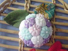 Colorful Hydrangea Chirimen,Kimonofabric
