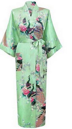 dc81c6792 Hot Sale Blue Female Silk Rayon Robes Gown Kimono Yukata Chinese Women Sexy  Lingerie Sleepwear Plus Size S M L XL XXL XXXL A-046