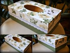 Mano laikas Decoupage Box, Decoupage Vintage, Tissue Box Covers, Tissue Boxes, Tissue Box Crafts, Diy And Crafts, Arts And Crafts, World Crafts, Altered Boxes