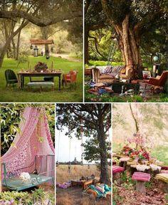 idées pour un jardin gai et joyeux, meubles vintage et déco boho chic
