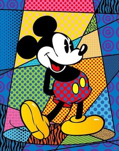 Mickey spotlight by Romero Britto Pop Art Mickey Mouse E Amigos, Mickey Mouse And Friends, Mickey Minnie Mouse, Disney Mickey, Art Disney, Disney Kunst, Arte Pop, Mikey Mouse, Tableau Design