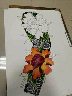 The flower ❤ – Tattoo Designs Japanese Demon Tattoo, Japanese Flower Tattoo, Japanese Sleeve Tattoos, Best Sleeve Tattoos, Hand Tattoos, Japanese Wave Tattoos, Dragon Tattoo Arm, Arm Tattoo, Samoan Tattoo