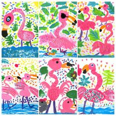 "Gefällt 109 Mal, 12 Kommentare - Miss Lee (@mizzzlee_art) auf Instagram: ""#Flamingos getting ready for summer! #kidsart #1stgrade #kidspainting #summerart #arteducation"""