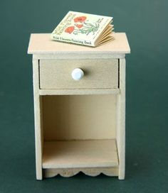 Make A Simple Dollhouse Miniature Night Table With A Drawer or Shelving