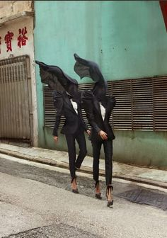 South China Morning Post, The Merry Widows by Baldovino Barani | cool fashion editorial outfit street style vogue layers vintage black veil suits |
