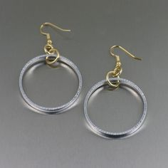 Chased Rim Aluminum Hoop Earrings