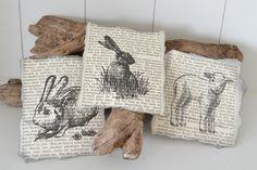 Drei echte alte Buchseiten mit Ostermotiven                                                                                                                                                     Mehr
