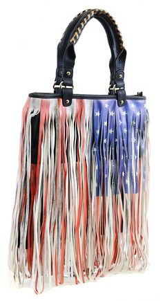 American Flag Design Faux Leather Fringe Patriotic Tote Bag Purse