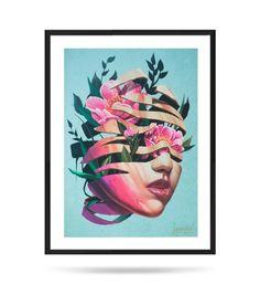 Flowers face, Fine Art Print, Matte, digital illustration Digital Illustration, Fine Art Prints, My Arts, Face, Flowers, Cards, Painting, Etsy, Art Prints