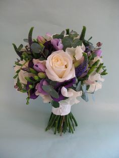 Summer bouquet in purple and cream thus one has eucalyptus and smells so nice