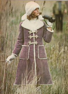 Vintage Vogue - 1970s #Winter Wear - Brown Coat with Fur trim