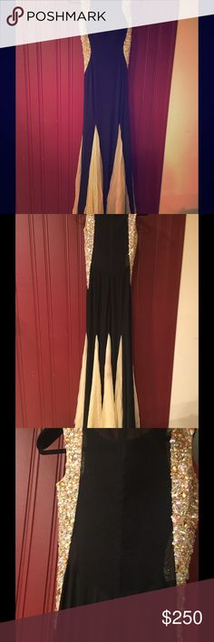 ELEGANT BLACK DRESS FOR A WEDDING OR PROM A beautiful black dress with details on the side and the bottom. Such a perfect dress for anyone and can wear it more than once. Not bcbg BCBG Dresses