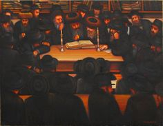 Old Mukachevo, the study of the Torah in the yeshiva of Rabbi Rabinovich. Старый Мукачево, изучение Торы в йешиве рава Рабиновича. 100х80см.