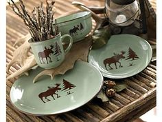 Fresh Meadow Moose Dinnerware Set...I REALLY want this set!