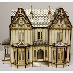 This is our Kristiana Tudor & Scale& dollhouse kit. Made by Laser Dollhouse Designs Inc. This is a large quarter scale kit. Ceiling height 2 Pictured is a non-painted completed house for a referance to give you a good idea of all the detail. Wooden Dollhouse Kits, Dollhouse Door, Dollhouse Design, Dollhouse Miniatures, Victorian Dollhouse, Dollhouse Furniture, Victorian Homes, Tudor, Window Inserts