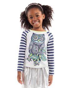 Look at this #zulilyfind! White Stripe Owl Raglan Tee - Toddler & Girls #zulilyfinds