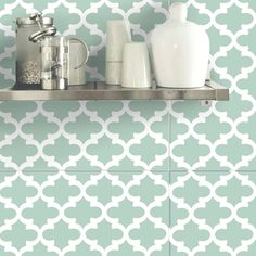 Wall Tile Sticker Kitchen Bathroom Decorative Decal :  Moroccan F060 Green