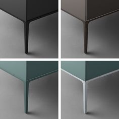 Self up feet fi nishings: black aluminium, brown aluminium, aluminium, Ecolorsystem lacquered.
