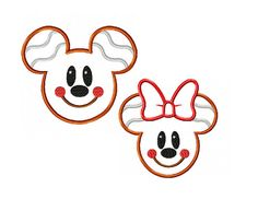 Mickey and Minnie Miss and Mister Mouse Gingerbread Applique