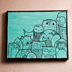 Original Owl Illustration  10 x 8 canvas by amycnelson on Etsy, $29.99