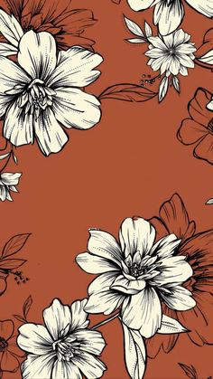 Hibiscus pattern by smileysunday - Hand illustrated floral pattern in orange and mauve on a teal background on fabric, wallpaper, and gift wrap. Bold floral pattern by indie pattern designer smileysunday. Phone Background Patterns, Iphone Background Wallpaper, Aesthetic Iphone Wallpaper, Flower Wallpaper, Pattern Wallpaper, Aesthetic Wallpapers, Floral Wallpaper Iphone, Vintage Wallpaper Patterns, Teal Background