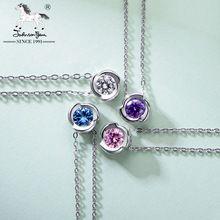 Menos de $1 dólar Mujeres 925 Collar Al Por Mayor, Crystal rose flor colgante de collar de oro blanco para los mejores amigos