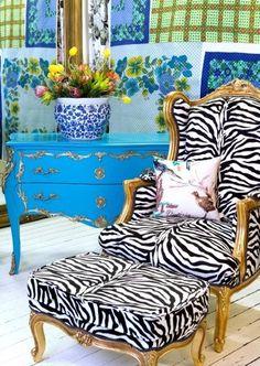 Gilt Zebra Wing Back,   Gilt Zebra Ottoman