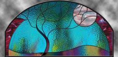 Stained Glass Window Panel Large Moonlit by stainedglassfusion