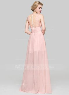7a01e122221 A-Line Princess Scoop Neck Floor-Length Chiffon Bridesmaid Dress With  Ruffle Lace