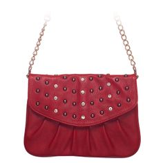 """Rae-Red Grace Adele Clutch    Rae combines a simple shape with tough silver studs — perfect when you want to be elegant with an edge.     Fits inside the exterior pocket on your favorite Grace Adele bag.     • Faux leather  • 9"""" L, 7"""" H  • Detachable chain and 27.25"""" faux leather strap    https://myfashions.graceadele.us/GraceAdele/Buy/ProductDetails/10614"""