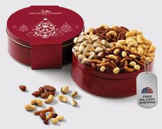 Send the Grand Nut Party Gift Tin to your soldier for Valentine's Day. Free military shipping | http://www.hickoryfarms.com/item/grand-nut-party-assortment-gift-tin/040445#