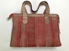 Big bag, made of used fire hose and leather.