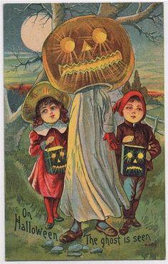 """On Halloween the ghost is seen"" vintage postcard, Retro Halloween, Halloween Fotos, Vintage Halloween Images, Halloween Prints, Halloween Pictures, Vintage Holiday, Holidays Halloween, Spooky Halloween, Happy Halloween"