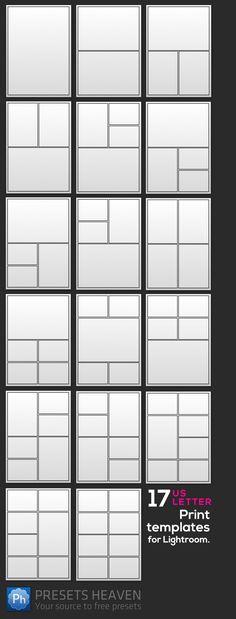 Letter-sized Print templates for Lightroom