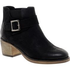 ASOS ACQUAINT Leather Chelsea Ankle Boots ($72) ❤ liked on Polyvore featuring shoes, boots, ankle booties, chaussures, ankle boots, botas, black, buckle ankle boots, black buckle boots and black leather bootie